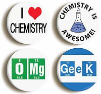 CHEMISTRY AWESOME SCIENCE BADGE BUTTON PIN SET (Size is 1inch/25mm diameter)