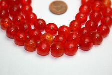 Strang rojo naranja krakelee crushed beads de Bohemia