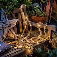 More details for auraglow solar powered 60 led bulb garden outdoor hemp rope string fairy light