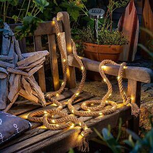 Auraglow Solar Powered 60 LED Bulb Garden Outdoor Hemp Rope String Fairy Light