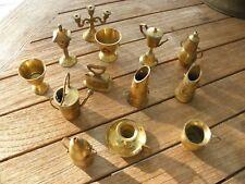 Lot Vintage Solid Brass Doll Miniatures Tea Pots Lamps Vases Iron Kitchen