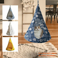 Conical Small Pet Cat Hanging Bed Hammock Linen Cloth Removable Soft Kitty Tent