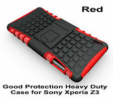 Red Heavy Duty Strong Tradesman TPU Hard Case Cover Stand For Sony Xperia Z3