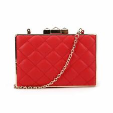 Ladies Party Clutch Bag Club Luxury Evening Prom Hard Case Gold Chain Strap Boxy Quilted - Red