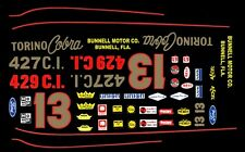 #13 Smokey Yunick Ford Torino 1/64th Ho Scale Slot Car Decals