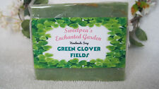 "HANDMADE NATURAL VEGAN SOAP, ""GREEN CLOVER FIELD "" BARS,  3.5 to 4 oz ea."