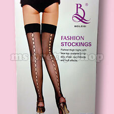 Black Thigh High Fishnet Whalenet Back Seamed Hold-up Stockings One Size S M
