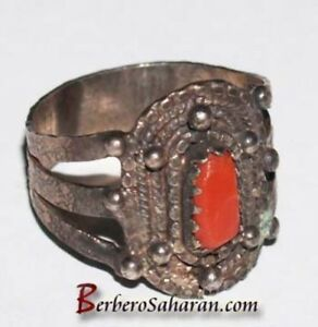Handmade Silver and red coral Algerian Berber ring style 1