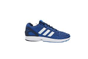 [B24932] Adidas ZX Flux TechFit Mens Running Blue/White-Onix