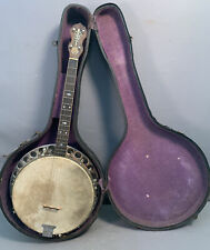 Antique 1920's Era MAGIC WONDER by BRUNO Old RESONATOR Back BANJO GUITAR & Case