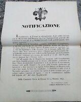 1847 BANDO DA FIRENZE SU REGISTRAZIONE DEI MILITI DELLA GUARDIA CIVICA