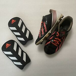 Adidas Soccer Bundle! Women's Pink Black Cleats US 7.5 Shin Guards Medium - GUC
