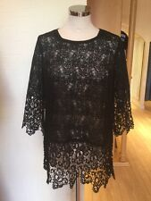Oui Top Size 10 BNWT Black Lace 3/4 Sleeve RRP £99 Now £25
