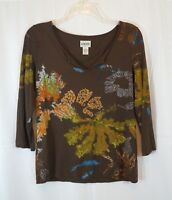 Chico's Size 0 V-Neck Floral Painted Print Brown 3/4 Sleeve Shirt Rayon Blend