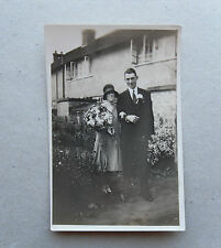 1920s B/W Photograph. Working Class Bride & Groom outside Council House. Summer