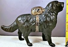 Antique CAST IRON SAINT BERNARD DOG BANK I Hear A Call Copyright July 20th, 1900