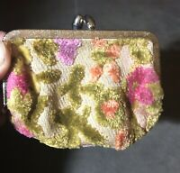 Small Vintage Tapestry Fabric Floral Velvet Velour Kiss Lock Coin Purse Wallet