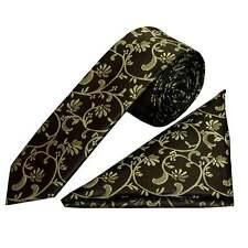 Black with Sage Green Floral Skinny Men's Tie and Handkerchief Set Wedding Tie