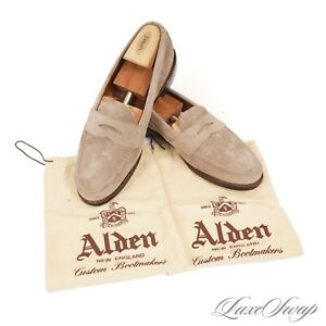 #1 MENSWEAR Alden Made in USA Taupe Suede 6244F Unlined Flex Welt Loafers 10 B/D