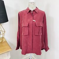 RM Williams Womens Silk Shirt Long Sleeve Burgundy Relaxed Loose Fit Size 12 NWT