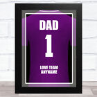 Dad No.1 Football Shirt Purple Personalized Dad Father's Day Gift Wall Art Print