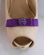 2 Small Purple Bow Clips for Shoes with Marble Style Button Centre