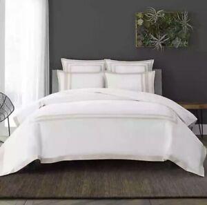 Wamsutta® Hotel Border MICRO COTTON® Duvet Cover 3piece Set Full/Queen White/Tan