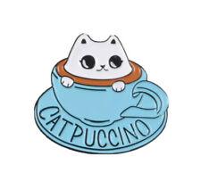 Catpuccino Cat In Cup Enamel Pin Brooch Lapel Cartoon Badge