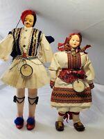 "Vintage Greek 1970 Folk Dolls Pair Man Woman 11.5"" w/ Ethnic Costume"