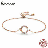 BAMOER Rose Charm Bracelet Chain S925 Sterling silver With CZ For Women Jewelry