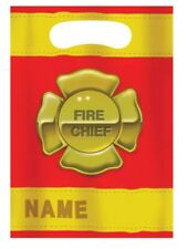 Firefighter 8 Plastic Loot Favor Bags Fire Badge Birthday Party