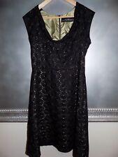 Anthropologie Nokomis Maltese Dress in Black Eyelet Chartreuse Lined 10 EUC