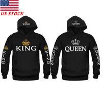 King & Queen Matching Couple Hoodies Love Matching Fleece Sweatshirt Shirts Tops