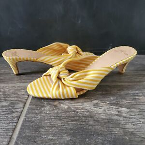 J. Crew Stripe Knotted Kitten Heel Yellow Sandal Size 6