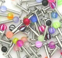20 Surgical Steel Labret Bars Eyebrow Nose Lip Piercing Colourful Body Jewellery