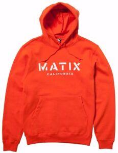 Matix CRUST HOOD Mens Pullover Hoodie Sweatshirt Small Orange NEW