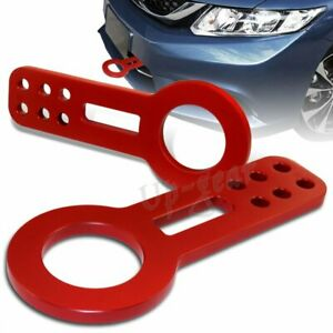 Universal Red Front Anodized Billet Aluminum Racing Towing Hook Tow Kit JDM