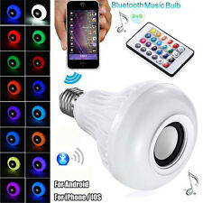 1X E27 LED RGB Bulb Wireless Bluetooth Speaker Light Music Player Lamp+ Remote