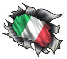 CLASSIC Ripped Open Carbon Fibre Rip Italy Italian il Tricolore Flag car sticker