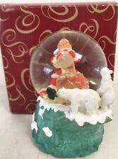 "San Francisco Music Box Co Snow Globe ""Santa Carving Teddy Bear"""