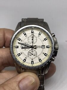 FOSSIL BLUE  ALL STAINLESS STEEL CASE STRAP CHRONOGRAPH WATCH  - CH-2465
