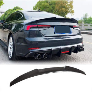 Fit for Audi A5 B9 SLINE S5 17-20 Real Carbon Fiber Rear Trunk Boot Lip Spoiler