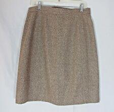 Brown Wool A Line Tweed Skirt Lined Handmade Womens Medium