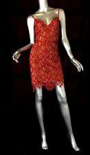 For love & Lemons red cocktail lace dress short mini spaghetti SzL nude sheer
