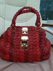 MIU MIU RED MATELASSE TOTE BEAUTIFUL RIBBON EFFECT WOVEN LEATHER -USED 3 TIMES O