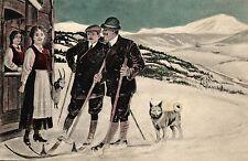 Damen, Herren mit Ski, Ziege, Hund, versandt in Schweden, 1917