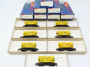 LOT of 7 HO Scale Roundhouse CN Canadian National Ore Car - Yellow Freight Cars