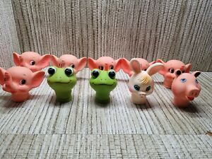 Lot of 10  Vintage Plastic Doll Faces and  Heads BUNNY PIG FROG ELEPHANT (D)