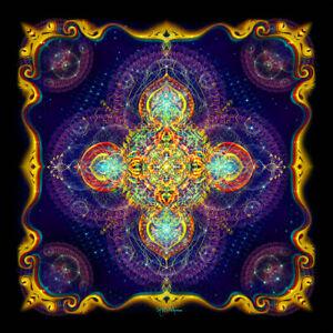 MANDALA TAPESTRY Blacklight trippy psychedelic uv wall hanging yoga boho bedroom