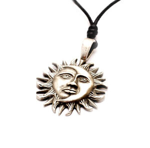 Ying Yang Sun & Moon Silver Pewter Charm Necklace Pendant Jewelry Yin Feng Shui